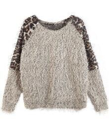 Leopard Feather Yarn Sweater Grey