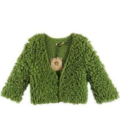 Hand Crocheted Curly Cardigan Green