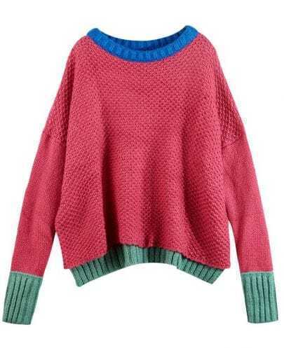 Color Matching Sweater Rose red