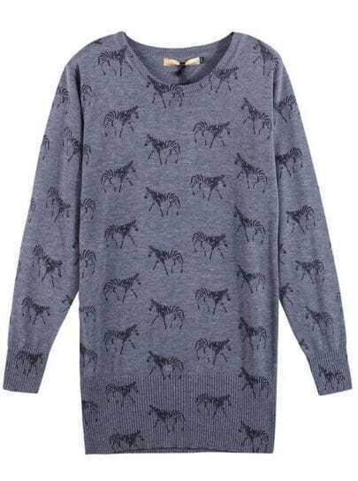 Zebra Pattern Wool sweater Grey