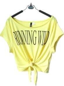 Yellow RUNNING WILD Print Short Sleeve Tie Front T-shirt