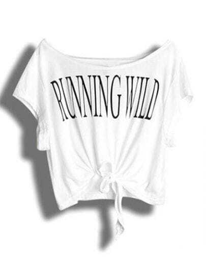 White RUNNING WILD Print Short Sleeve Tie Front T-shirt