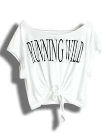 White RUNNING WILD Print Short Sleeve Tie Front T-shirt