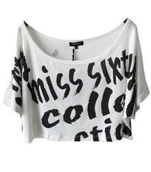 White MISS SIXTY Print Short Sleeve Crop T-shirt