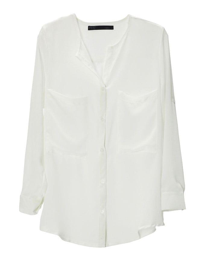 Big Pocket No Collar Chiffon Shirt -SheIn(Sheinside)