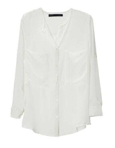 Big Pocket No Collar Chiffon Shirt