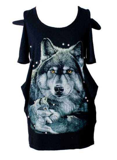 Wolf Head Of Printed Cotton Nail Drill T-shirt