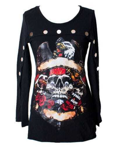 Skull Print Backless T-shirt