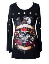 Skull Print Backless T-shirt