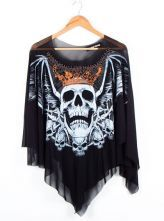 Gauze Cape Skull Print T-shirt