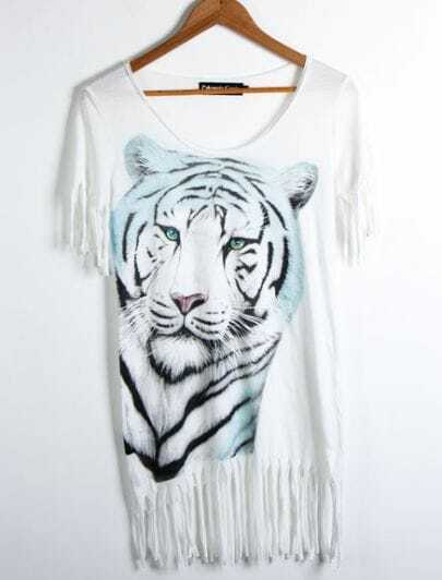 White Cotton Tiger Face Print with Tassel Hem Short Sleeve T-shirt