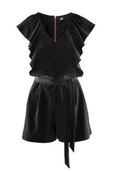 Black Cascading Ruffle Jumpsuit Pant