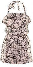 Leopard Print Cascading Ruffle Jumpsuit Pant