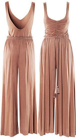 Cotton Weave High Waist Jumpsuit Pant
