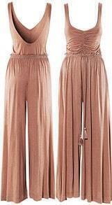 Cotton Weave High Waist Jumpsuit Pant