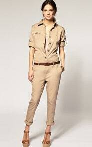 Khaki Long Sleeve Cotton Street Jumpsuit Pant