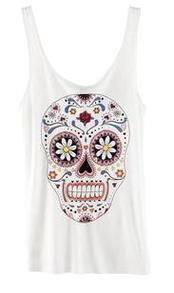 White Human Skeleton Print Tank T-Shirt