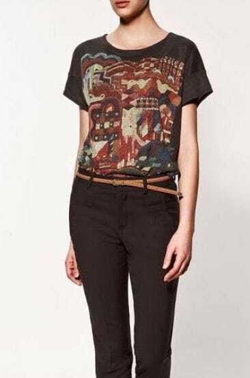 Print Short Sleeve T-Shirt Black