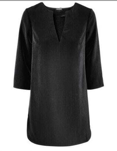 Black V-Neck Half Length Sleeve Shirt
