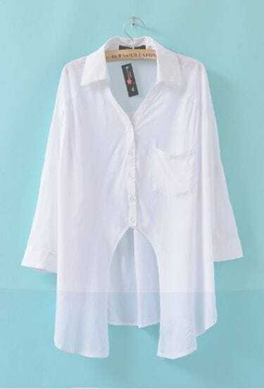 White Chiffon Double Pockets Shirt
