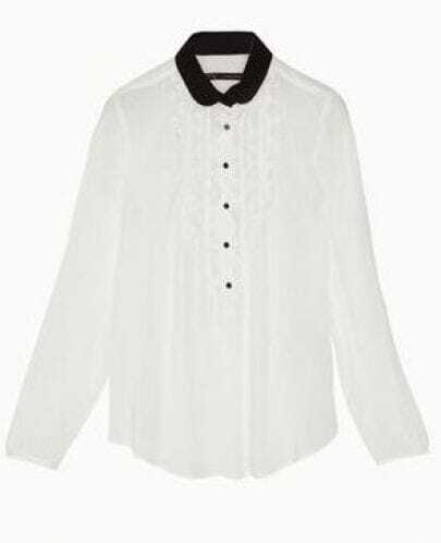 Lapel Long Sleeve White Shirt