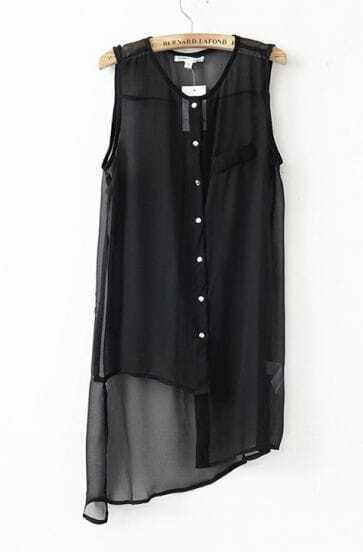 Round Asymmetrical Sleeveless Black Shirt