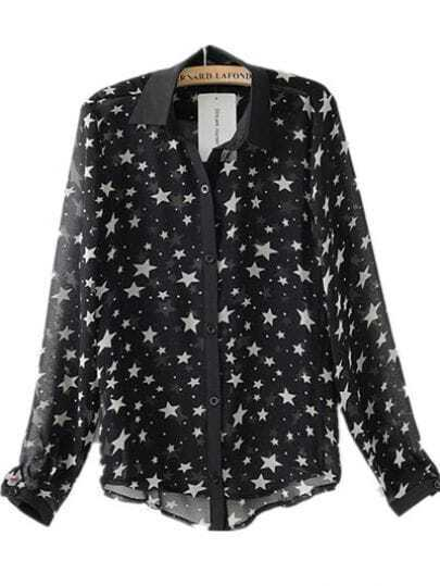 Black Star Print Lapel Chiffon Shirt