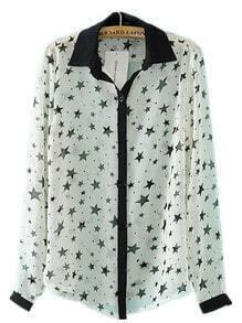 White Star Print Lapel Chiffon Shirt