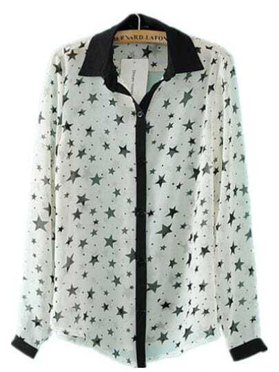 White Star Print Lapel Chiffon Shirt