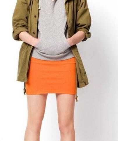 Candy Color Slim Package Hip Skirt Orange