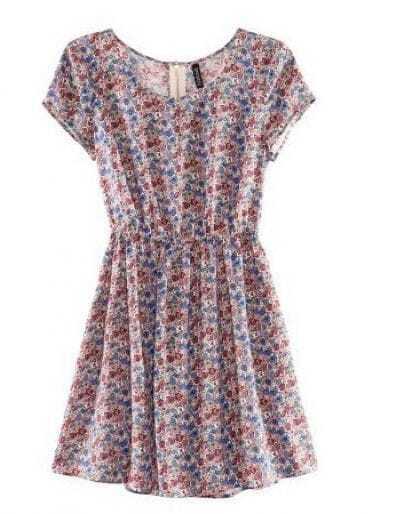 Floral Short Sleeve Scoop Neck Tunic Dress