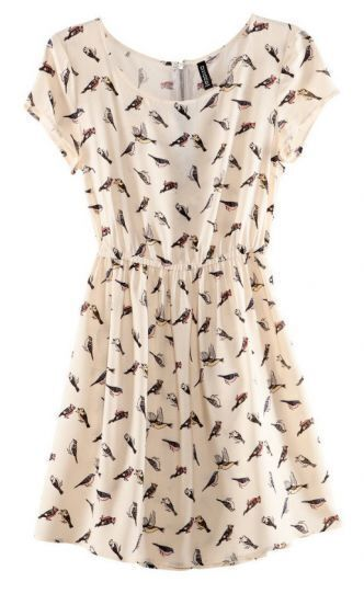White Bird Print Chiffon Tunic Dress