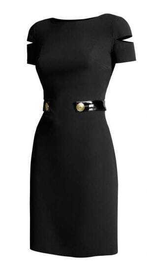 Black Split Sleeve Silk Dress