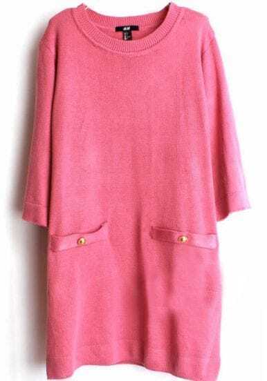 Red Loose Half Sleeve Sweater Dress