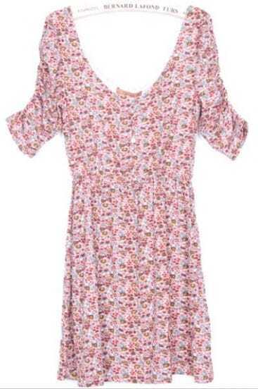 Pink Floral Pattern Scoop Neck Dress
