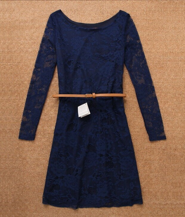 blue neck lace dress with belt shein sheinside