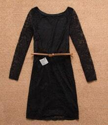 Black Round Neck Lace Dress With Belt