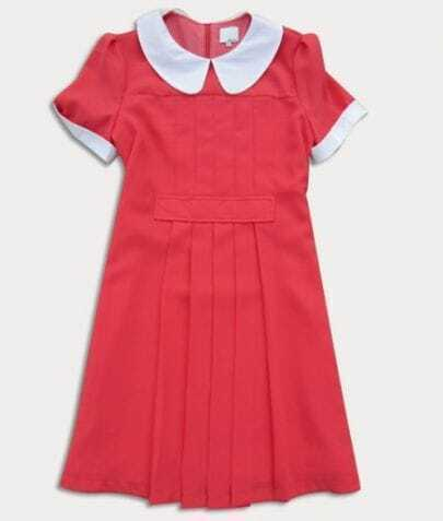 Red Short Sleeve Pleated Dress with White Lapel