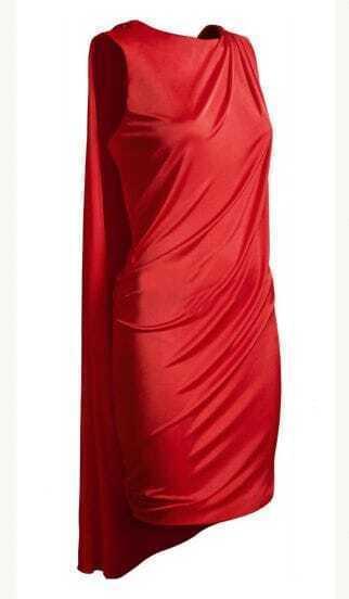 Red Draped Sleeveless Party Dress