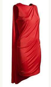 Red Draped Sleeveless Party Dress