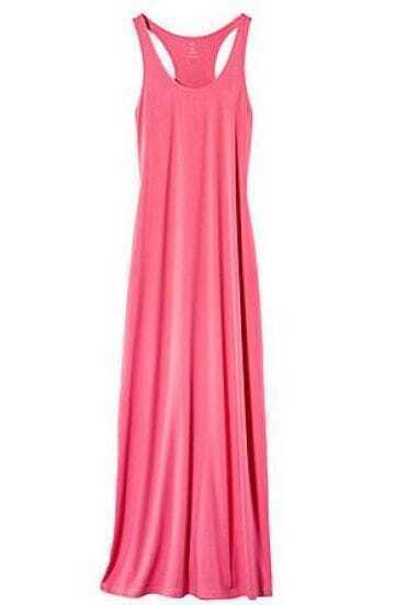 Pink T Back Tank Maxi Dress