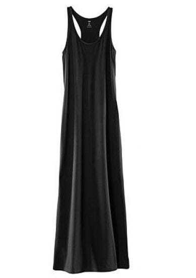 Black T Back Tank Maxi Dress