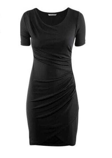 Black Draped Knee-Length Short Sleeve Dress