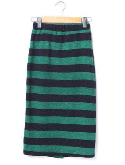 Candy Color Stripe Skirt Green