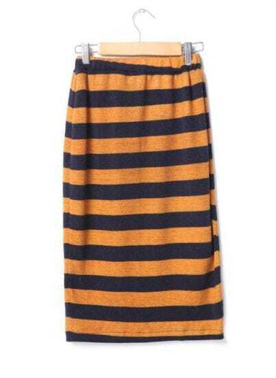 Candy Color Stripe Skirt Yellow