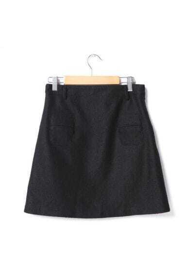 Vintage A-line Woolen Skirt Black