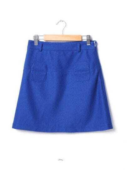 Vintage A-line Woolen Skirt Blue