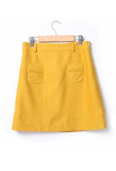 Vintage A-line Woolen Skirt Yellow