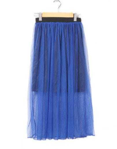 Net Yarn Mop Pleated Skirt