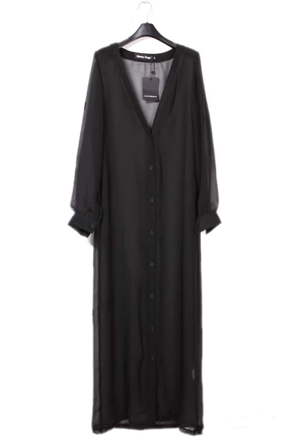 Chiffon Candy-color Long Cardigan Black -SheIn(Sheinside)